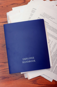Photo of an employee handbook