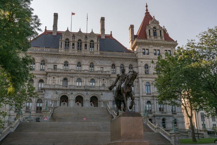 New York State Capitol Building from East Capitol Park in Albany. New York