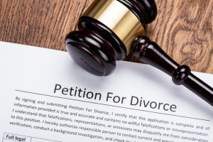 Wooden Gavel On Petition For Divorce