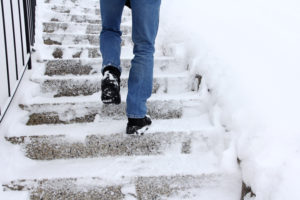 Risk of slipping when climbing stairs in winter.